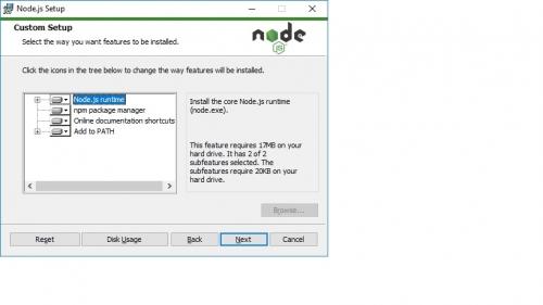 node install dialog