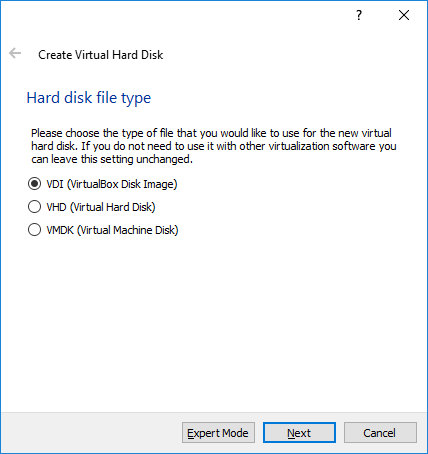VM Hard disk file type