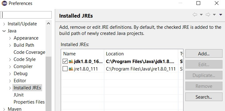 JDK path in Eclipse